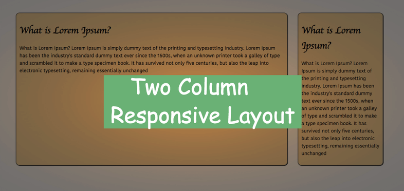 How to Create a Two Column Responsive Layout using Flexbox